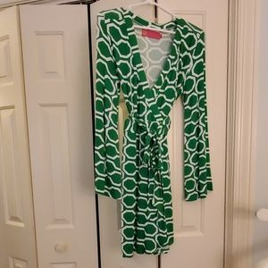 Ladies Green & White Macbeth Collection Dress (Med